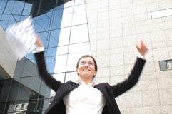 женщина дела счастливая стоковое изображение
