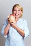 женщина дела счастливая piggy Стоковое Изображение