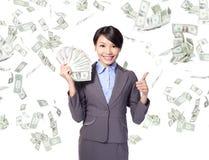 Женщина дела с деньгами Стоковое фото RF