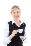 Женщина дела с чашкой кофе, белой предпосылкой Стоковое Изображение