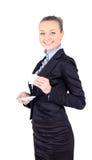 Женщина дела с чашкой кофе, белой предпосылкой Стоковые Фото