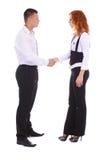 Женщина дела трястия руки с человеком Стоковое Фото