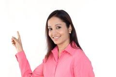 Женщина дела указывая к верхней части Стоковая Фотография RF