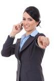 Женщина дела указывая на телефон Стоковая Фотография RF