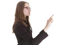 Женщина дела указывая с перстом Стоковое Фото