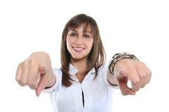 женщина дела указывая Стоковое Изображение RF