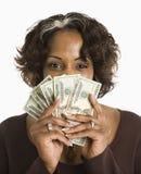женщина денежных авуаров Стоковое Изображение