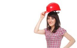 Женщина держа красный шлем Стоковое Фото