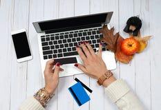 Женщина держа кредитную карточку и используя портативный компьютер Он-лайн принципиальная схема покупкы Стоковое фото RF