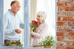 Женщина держа розы стоковые изображения rf