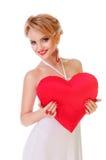Женщина держа сердце Валентайн Стоковые Фото