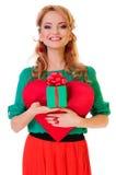 Женщина держа сердце Валентайн Стоковое Изображение RF