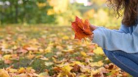 Женщина держит в руках пачку осенних листьев и бросает их по одному акции видеоматериалы