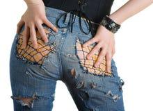 женщина джинсыов способа стоковые фотографии rf