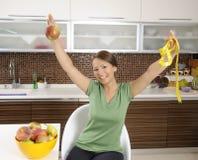 женщина диетпитания счастливая здоровая сь Стоковые Изображения