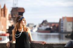 Женщина девушки язычка винтажная в 1920s вводит Гданьск в моду Стоковые Изображения RF