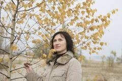 Женщина деревом смотря вверх в поле Стоковое Фото