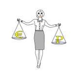Женщина держа баланс думая что выбрать - иллюстрация штока