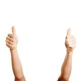Женщина держа 2 большого пальца руки вверх Стоковые Изображения
