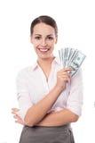 Женщина держа вентилятор денег стоковая фотография rf