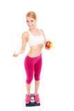 Женщина держа витамины и яблоко здоровье внимательности рукояток изолировало запаздывания Стоковое Изображение RF