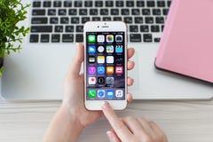Женщина держа золото iPhone6S розовое Стоковая Фотография RF