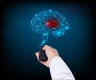 Женщина держа дистанционное управление ТВ с мозгом Стоковые Фото