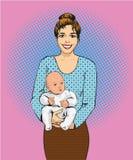 Женщина держа иллюстрацию вектора ребенка в ретро стиле искусства шипучки Мать с ее плакатом дизайна ребенк шуточным иллюстрация штока