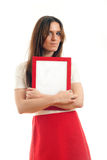 Женщина держа пустой знак Стоковые Изображения