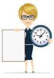 Женщина держа пустые плакат и часы иллюстрация штока