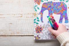 Женщина держа ручки геля, взрослые книжка-раскраски, новую тенденцию сбрасывать стресса стоковое фото rf