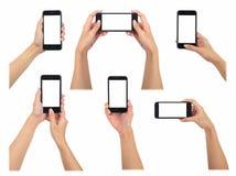 Женщина держа умные собрание фото телефона 6 различное, зажим пользы Стоковые Фото