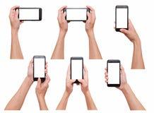 Женщина держа умные собрание фото телефона 6 различное, зажим пользы Стоковое Изображение