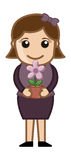 Женщина держа цветочный горшок в руках - вектор Стоковое Изображение
