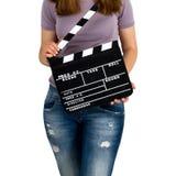 Женщина держа clapboard стоковое изображение