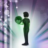Женщина держит глобус мира Стоковая Фотография