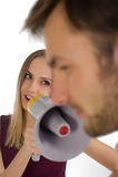 Женщина и мегафон Стоковое фото RF