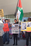 Женщина держит палестинский флаг и знак протестуя Израиль Стоковое фото RF
