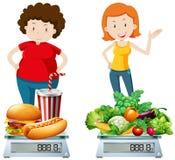 Женщина есть здоровую и нездоровую еду иллюстрация вектора