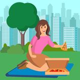 Женщина есть пиццу на иллюстрации вектора пикника иллюстрация штока