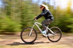 Женщина ехать горный велосипед на пути леса стоковая фотография rf