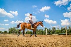 Женщина ехать лошадь в внешней конноспортивной арене Стоковая Фотография