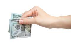 Женщина делать рука держа 100 долларов изолированный на белой предпосылке Стоковое фото RF