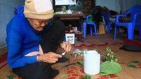 Женщина делая бетэл с бетэлом и арекой Таможни жевать бетэла многолетни в Вьетнаме акции видеоматериалы