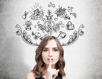 Женщина делая знак hush, wedding планирует Стоковое Фото