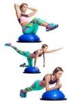 Женщина делая тренировку на bosu стоковое изображение