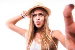 Женщина делая фото selfie на smartphone Стоковое Фото