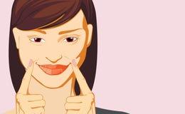 Женщина делая эмоцию улыбки иллюстрация штока