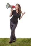 Женщина дела с мегафоном Стоковое Изображение RF