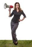 Женщина дела с мегафоном Стоковые Изображения RF